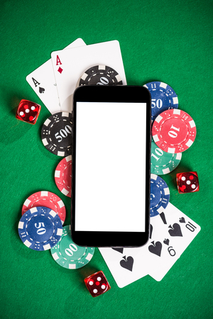 Gambling on mobile phone mock up. Zdjęcie Seryjne