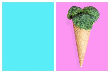 Broccoli ice cream cone, summer diet concept. Archivio Fotografico - 98046490