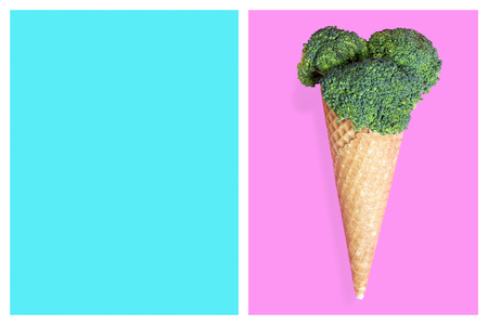 Broccoli ice cream cone, summer diet concept.