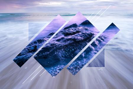 Minimalist geometric figure polyscape. Poly scape nature and ocean background. Archivio Fotografico