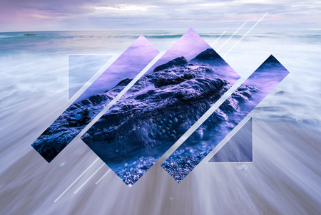 Minimalist geometric figure polyscape. Poly scape nature and ocean background. Banco de Imagens