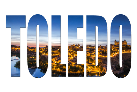 Toledo letters isolated, post card template mock up.