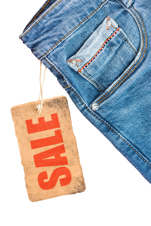 Jeans trousers sale label template mockup, isolated on white.