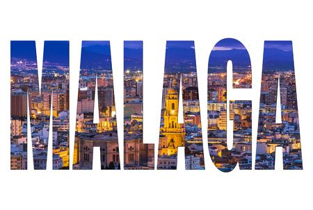 Màlaga-Buchstaben lokalisiert, Postkartenschablonenspott oben. Standard-Bild