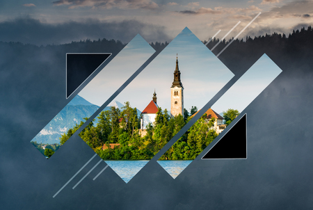 Polyscape minimalist landscape with Lake Bled,Slovenia. Poly scape nature background.