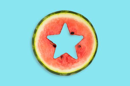 Star shape cut off in watermelon.