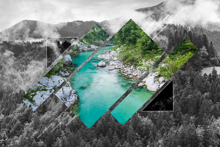 Wilderness in mountains, poly scape landscape. Polyscape nature background.