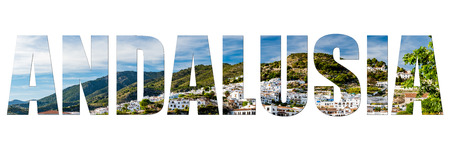 Andalusia letters isolated on white with image, panoramic view 版權商用圖片