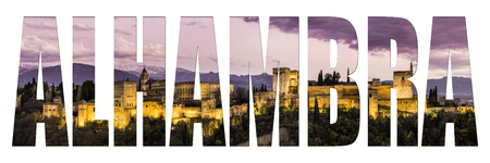 Alhambra letters isolated with image, panoramic post card view