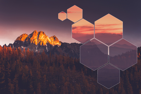 Octagon geometric landscape,polyscape. Poly scape minimal art. Stock Photo