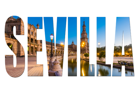 Sevilla letters isolated with image, post card design. Stock Photo