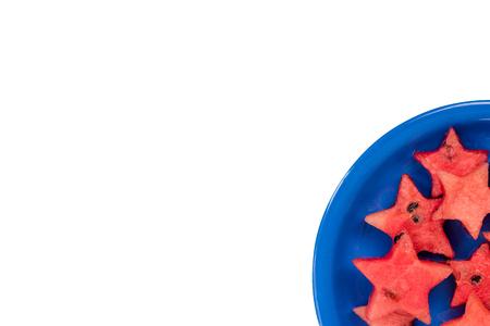 Watermelon creative star pieces, isolated on white. 版權商用圖片