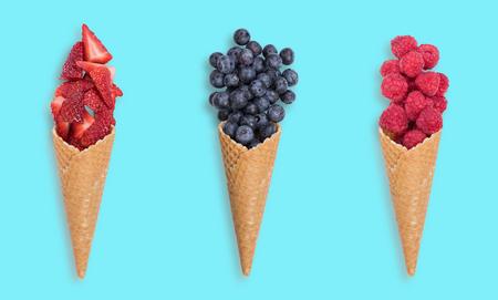Healthy fresh fruits ice creams, top view, flat lay.