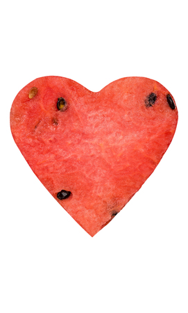 Creative watermelon heart shape, isolated on white.