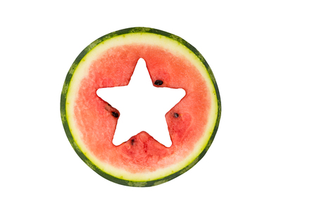 Star shape cut off in watermelon. Isolated on white.