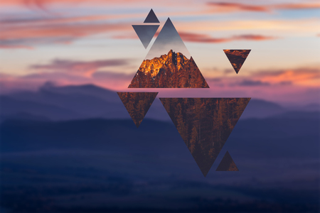 Geometric polyscape with triangles and mountains. Stockfoto