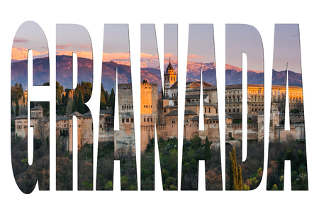 Granada letters isolated with Alhambra image, post card template