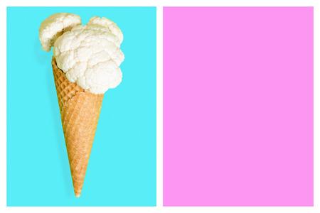Cauliflower ice cone, summer diet concept.