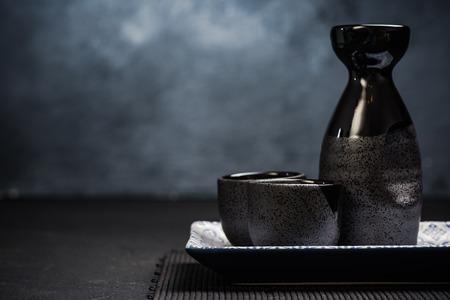 Sake traditional ceramic drinking set. Stock Photo