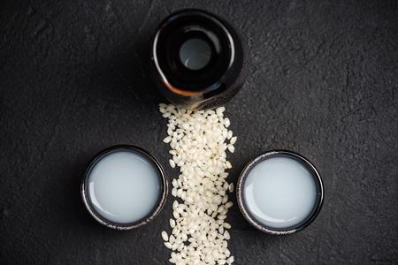 Japanese sake vodka and rice,copy space.