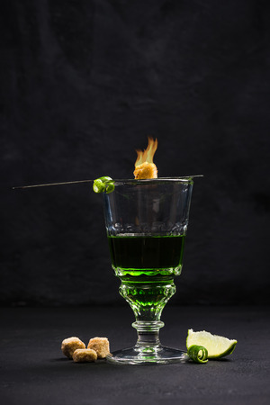 Traditional way for drinking Absinthe.