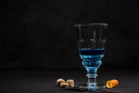 Shoot of blue Absinthe, anise vodka.