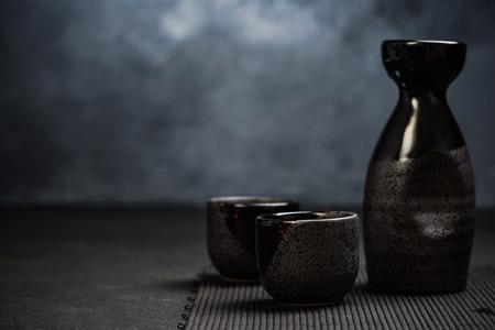Orienatal japanese sake drinking set.