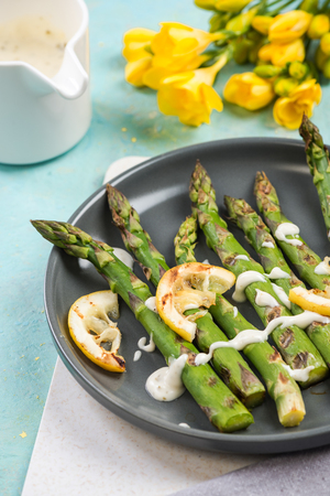 Grilled healthy new spring season vegetables. Stock Photo