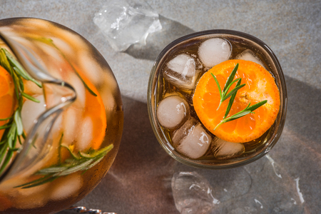 Refreshing ice cold tea, close up. Stock Photo