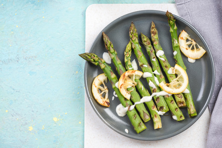 Spring dish grilled asparagus from local market.