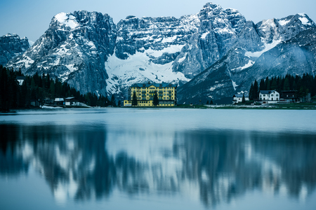 Beautiful desaturated moody image of Misurina Lake,Dolomites,Italy. Stock Photo