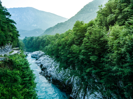 Panoramic vista over Soca river canyon in Slovenia Triglav park.