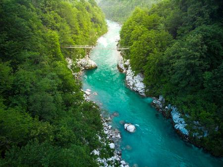 Aerial view over Soca river in Triglav Park, Slovenia.