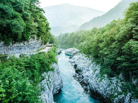 Beautiful Soca river from Napoleons Bridge,Slovenia.
