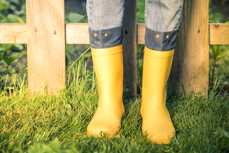 Yellow wellies and jeans in garden,toned image. Banque d'images
