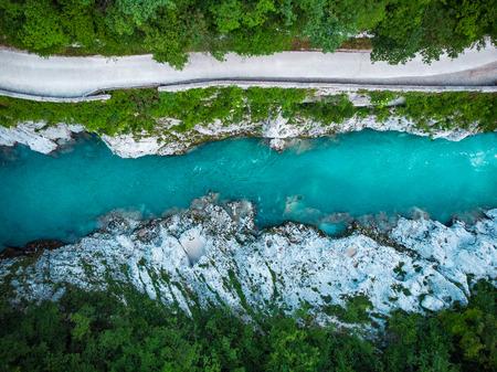 top down view over Soca river in Slovenia Triglav Park.