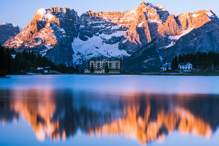 Spectacular sunrise over Misurina Lake in Italy,Dolomites mountains.