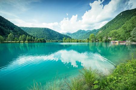 Emerald green water at Most na Soci Lake in Slovenia.