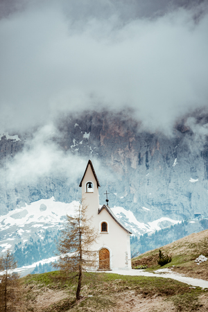Lonely Chapel in remote Italian Tyrol mountains.