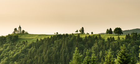Panoramic image of Lonely Chapel of  St. Primus and Felician, Jamnik, Slovenia