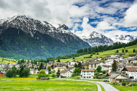 Mustair village in Switzerland Alps,Swiss. 版權商用圖片