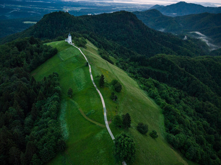 Aerial drone, Chapel of  St. Primus and Felician, Jamnik, Slovenia Stock Photo - 102745391
