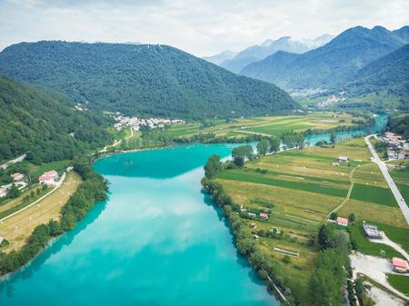 Breathtaking vista from drone at Most na Soci, Slovenia.