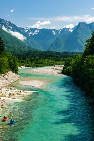 Kayaks on Soca river,Slovenia.