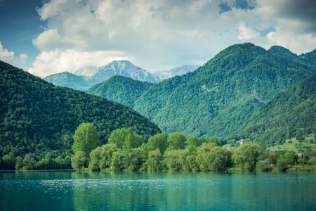 Green forest  covering mountains at Most na Soci, Slovenia.