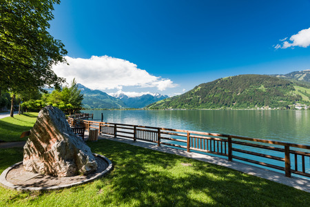 Beautiful sunny day at Zeller See Lake in Austria. top tourist destination.