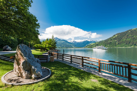 Ferry with tourist onboard at Zeller see Lake,Austria. Stock Photo