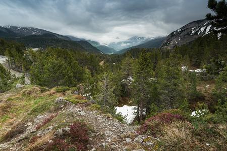 Overcast weather in Switzerland Alps peak.