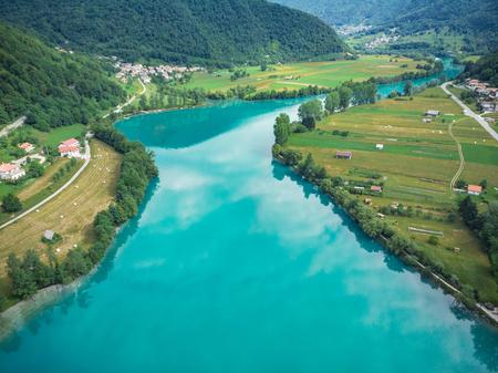 Beautiful unreal emerald green water in Most na Soci, Slovenia.