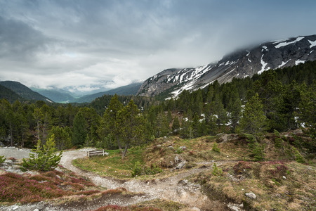 Clouds over high Alp peaks in Switzerland.